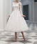 Bridal-Lace-Tulle-Tea-Length-Wedding-Formal-Short-Gown-Party-Dresses-Size-6-18 thumbnail 1