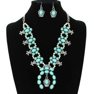 SQUASH-blossom-double-chain-necklace-set-in-silver-and-turquoise
