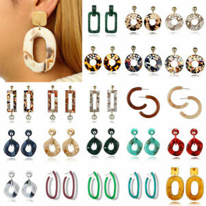 Lot-Acrylic-Tortoise-Shell-Drop-Dangle-Ear-Round-Circle-Resin-Hoop-Lady-Earrings
