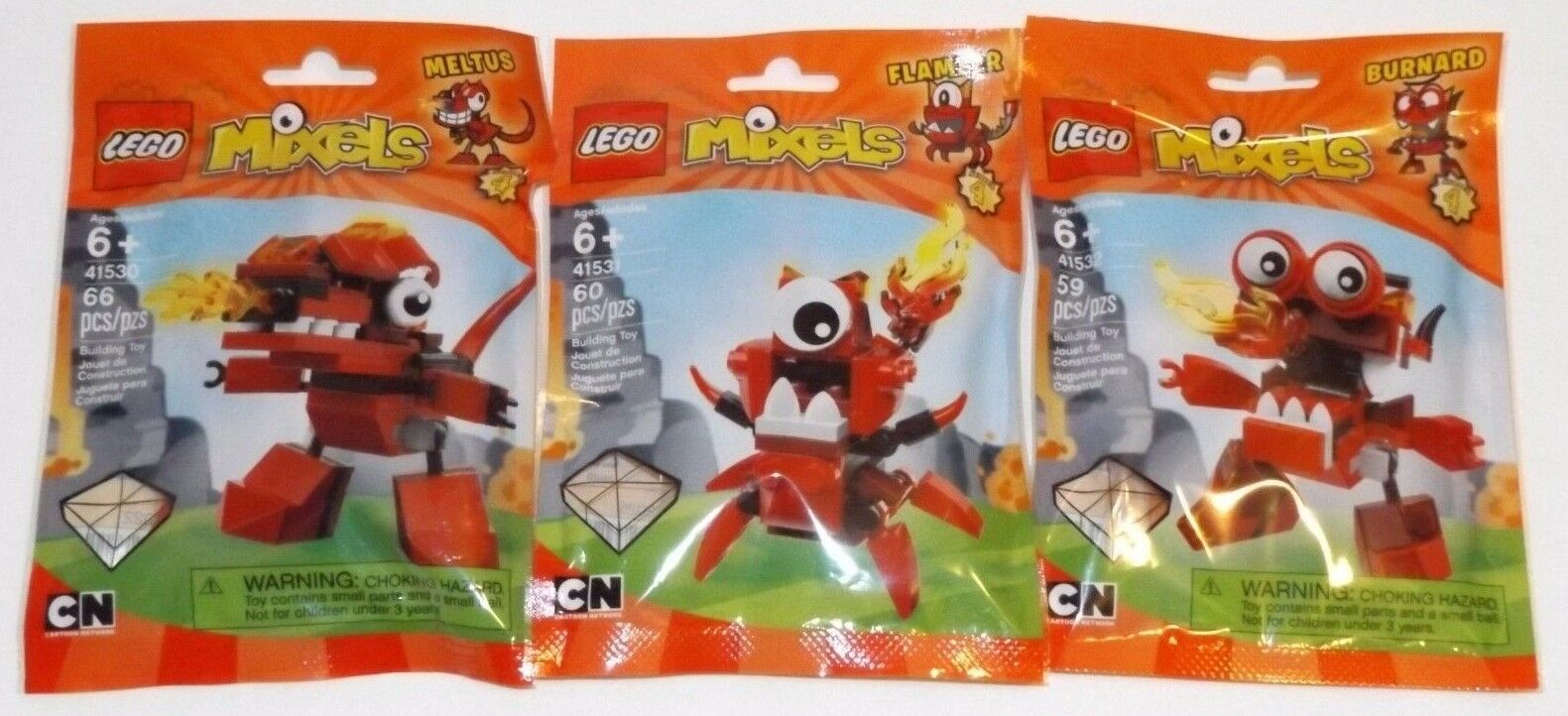 Lego Mixels Series 4 INFERNITES tribe  Meltus Flamzer Burnard red complete set