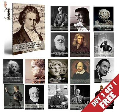 36 GENIUSES 36 QUOTES A4 POSTERS Motivational Inspirational Gifts HOME ART DECOR