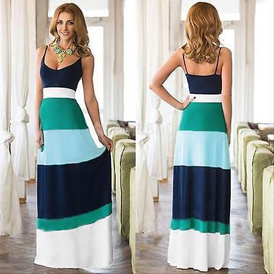 Sexy Women Evening Party Cocktail Striped Maxi Long Dress Summer Beach Sundress