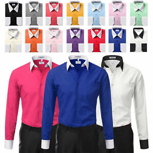 Berlioni-Italy-White-Collar-amp-Cuffs-Mens-Two-Tone-Dress-Shirt-All-Colors-amp-Sizes