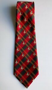 RENE-CHAGAL-Vintage-Hand-Made-Myung-Ju-Silk-Mens-Plaid-Tie-Polo-Horses