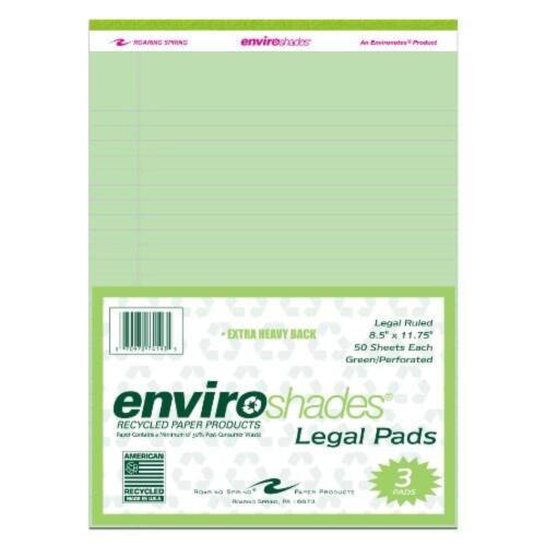 "3//pack New Roaring Spring Enviroshades 8.5/"" x 11.75/"" Green Legal Pads Free Sh"