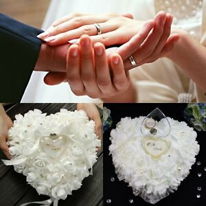 Blanco-La-Forma-del-Corazon-Cojin-Almohada-Para-Anillo-De-Bodas-Romantica