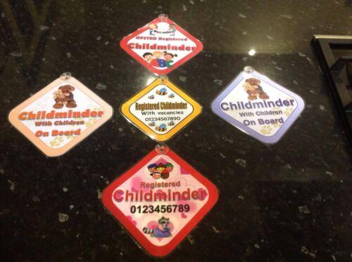 childminder car window sign advisory sign children on board