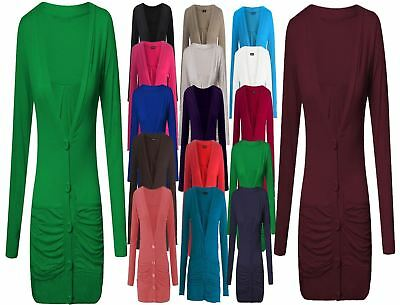 Liberal New Womens Ladies Long Sleeve Pocket Button Boyfriend Cardigan Jumper Tops Size