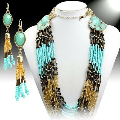 Goldtone Turquoise, Black & Yellow Gold Seed Bead Multi-Strand Necklace/Earrings
