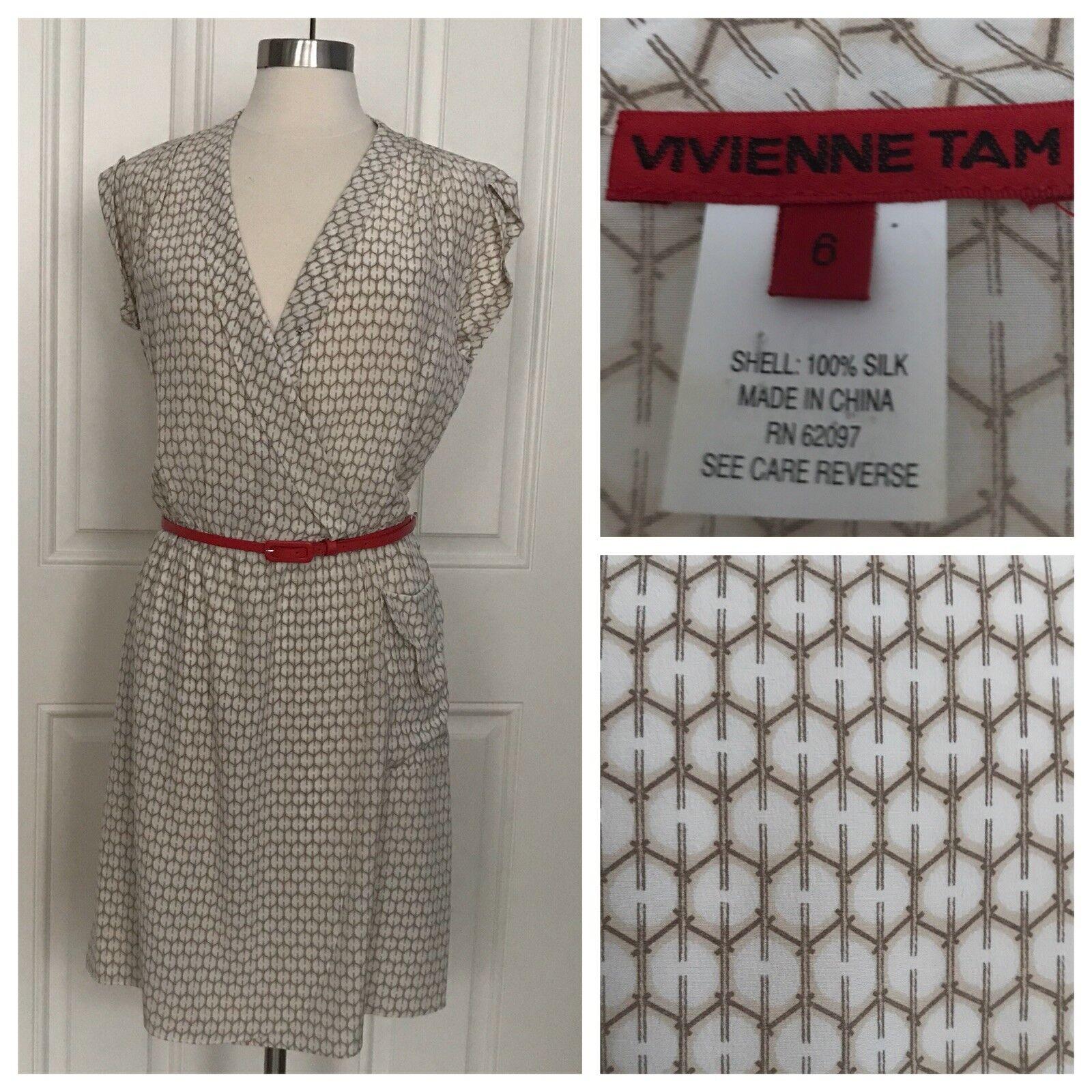 Vivienne Tam Woherren Weiß Printed 100% Silk Mock Geo Print Wrap Dress damen 6