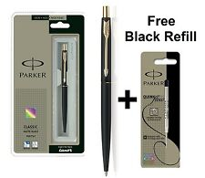GENUINE PARKER CLASSIC MATTE BLACK BALL POINT PEN GOLD TRIM + Free Black Refill