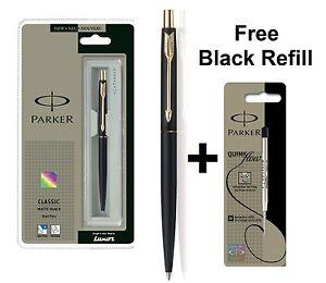 GENUINE PARKER CLASSIC MATTE BLACK BALL POINT PEN GOLD TRIM + Free Black Refill EwhTSMm4-09093743-211086990