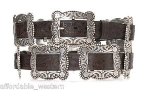 Details About Ladies WESTERN Leather BIG SQUARE CONCHO BELT Silver