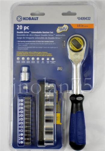 "Kobalt 20 Pc Piece Double Drive Extendable Handle 3//8/"" Ratchet Socket Tool Set"