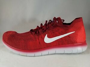 a80371b9f2c Details about Nike Free RN Flyknit 2017 Men's Team Red Running Shoes 880843  600 Size 14