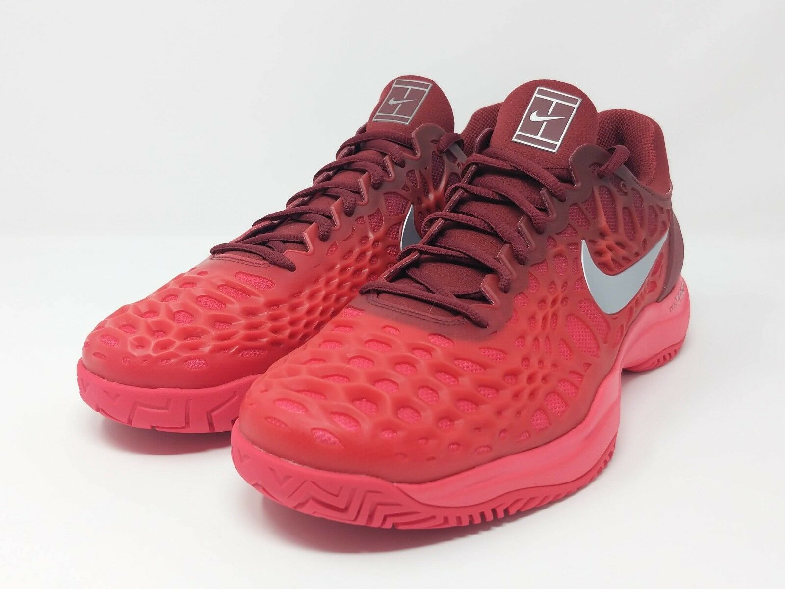 Nike Air Zoom Cage 3 HC Red/Metallic Silver Tennis Shoes 918193-602 Sz 11.5