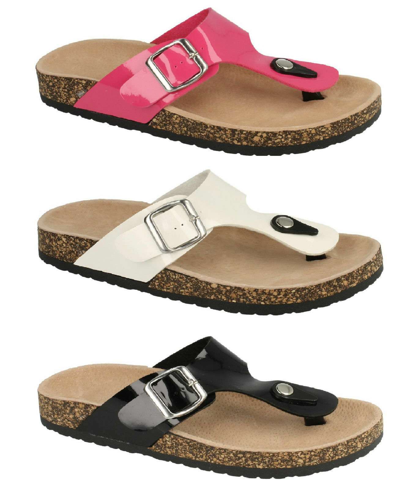 Mujer Charol Talón Look Ajustable Tira Al Dedo Zapatos sin Talón Charol 'F10295' Blanco o f8d38c