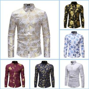 Shirt Top Long Sleeve Mens Slim Fit Luxury Casual Stylish Dress Shirts Floral