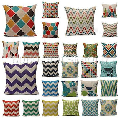 Colorful Geometric Waves Chevron Home Throw Linen Pillow Case Sofa Cushion Cover