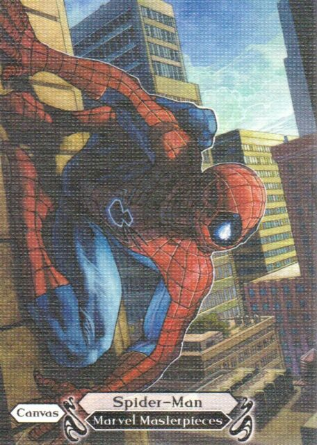 2018 Upper Deck Marvel Masterpieces Base Set Card #99 Spider-Man Canvas