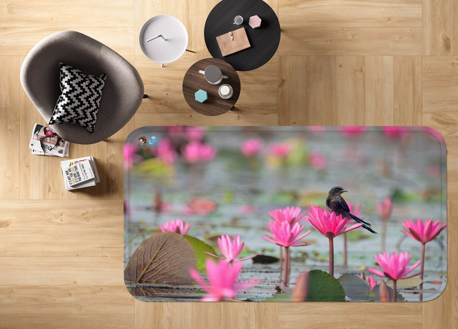 3D Lotu Bird 41 Non Slip Rug Mat Room Mat Quality Elegant Photo Carpet AU Summer