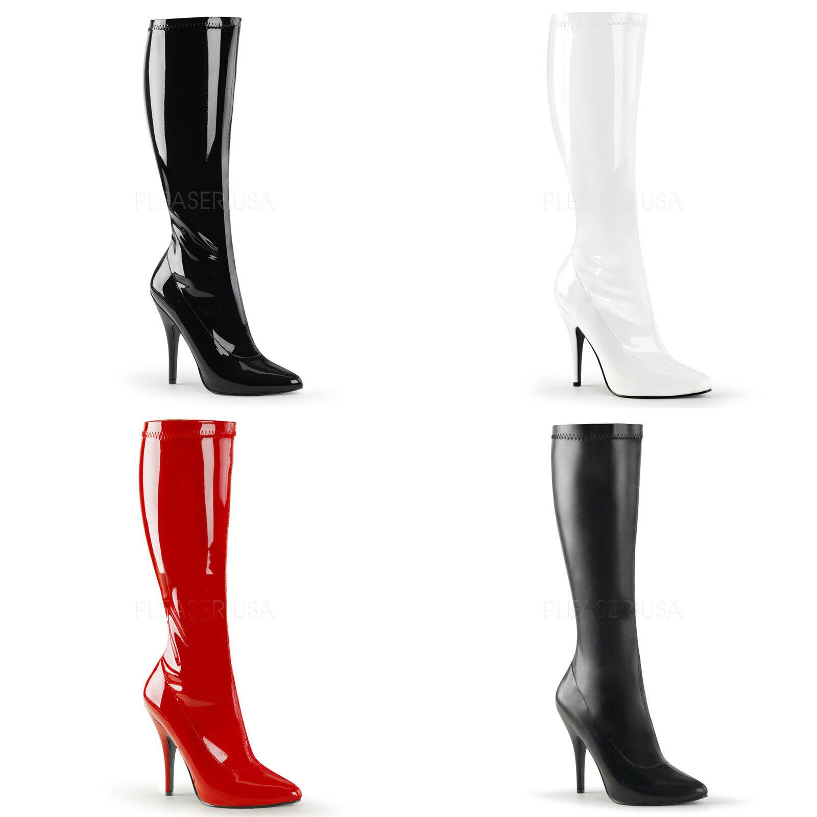 Seduce-2000 elegante Pleaser rot Damen High Heels Stiefel schwarz rot Pleaser weiß Gr 36-47 3496f4