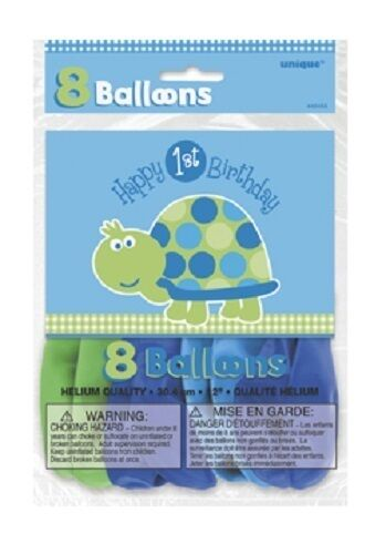 "First (1st) Birthday (Boy) TURTLE 8x12"" Latex BALLOONS (Party/Birthday)"
