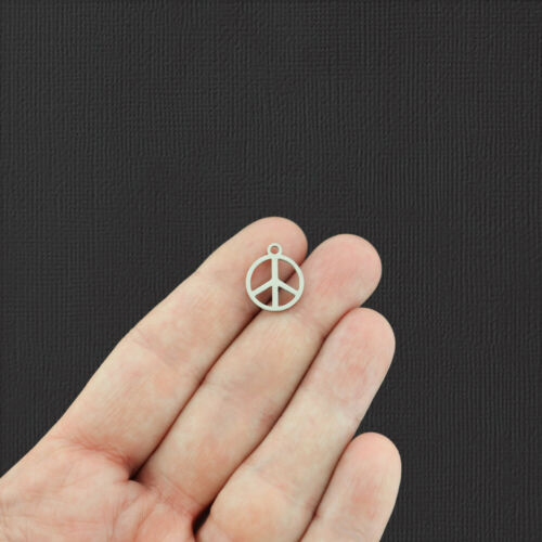 Peace Sign Silver Tone Stainless Steel Charm 2 Sided SSP024