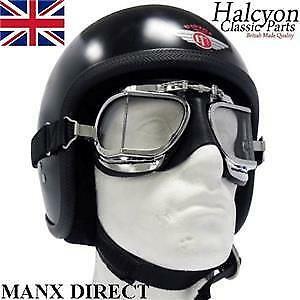 ca8d9745e1 Details about Hand Made Halcyon Black Mark 9 Compact Deluxe Goggles Use  With Open Face Helmet