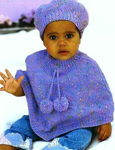 759-Baby-Knitting-Pattern-for-Baby-Child-039-s-Poncho-and-Beret-16-26-039-039-0-6yrs
