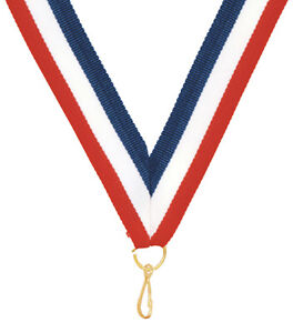 "LOT OF 50 Award Neck Ribbon Lanyard 7/8 x 32"" Red,White,Blue w/Snap Clip, Medals"