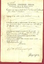 Regno di Sardegna Tesoreria della Città di Casale - Documento del 1798