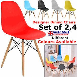 2x 4x Retro Dining Chairs Plastic Seat
