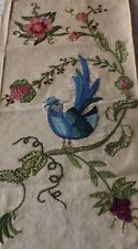 Exotic Vintage Jacobean Bird & Floral Hand Embroidered Wool On Linen c1920-1970s