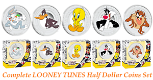 Complete-5-COIN-set-2018-Tuvalu-LOONEY-TUNES-1-2oz-SILVER-Half-Dollar
