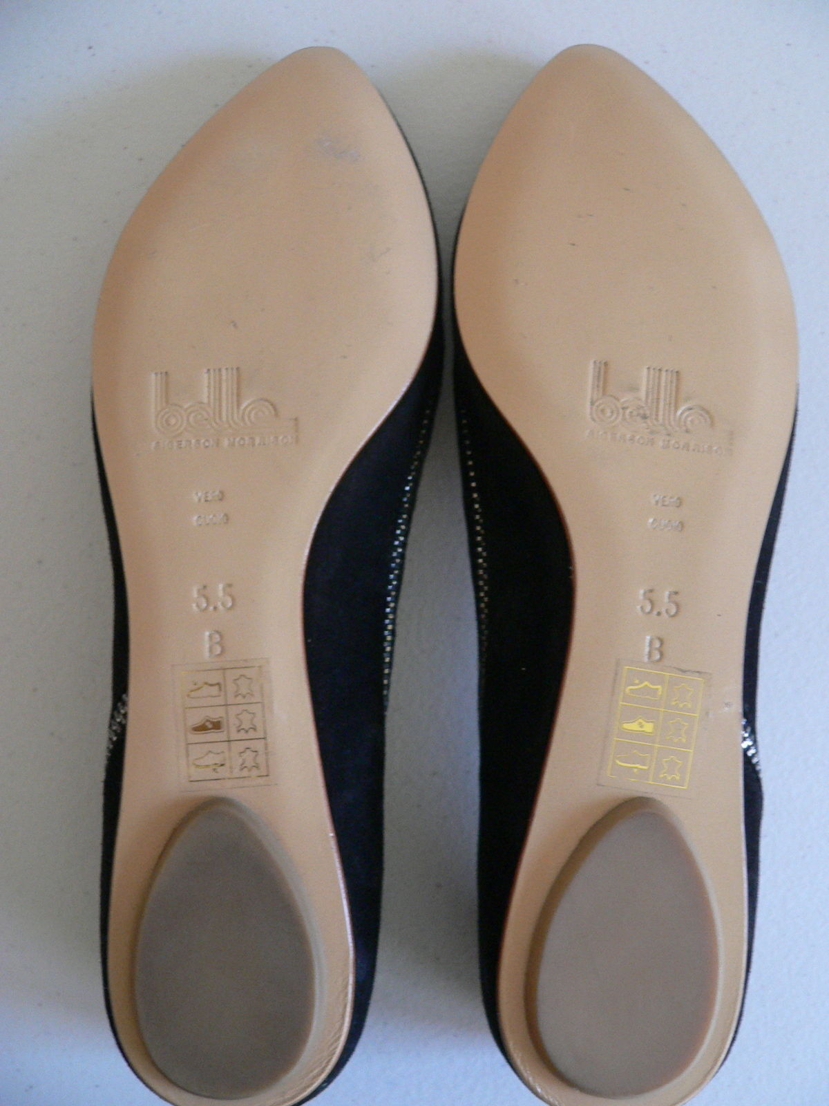 Sigerson Morisson Schuhes Flats Suede Suede Suede Leder Skimmers Pointy Toe Zippers Größe 5.5 61b975