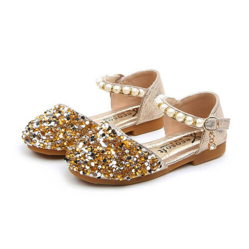 Baby Kids Girls Toddler Leather Sequin Princess Shoes Wedding Party Sandals 12MT