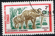 Chad Fauna Tropical Wild Animal African Elefants stamp 1971