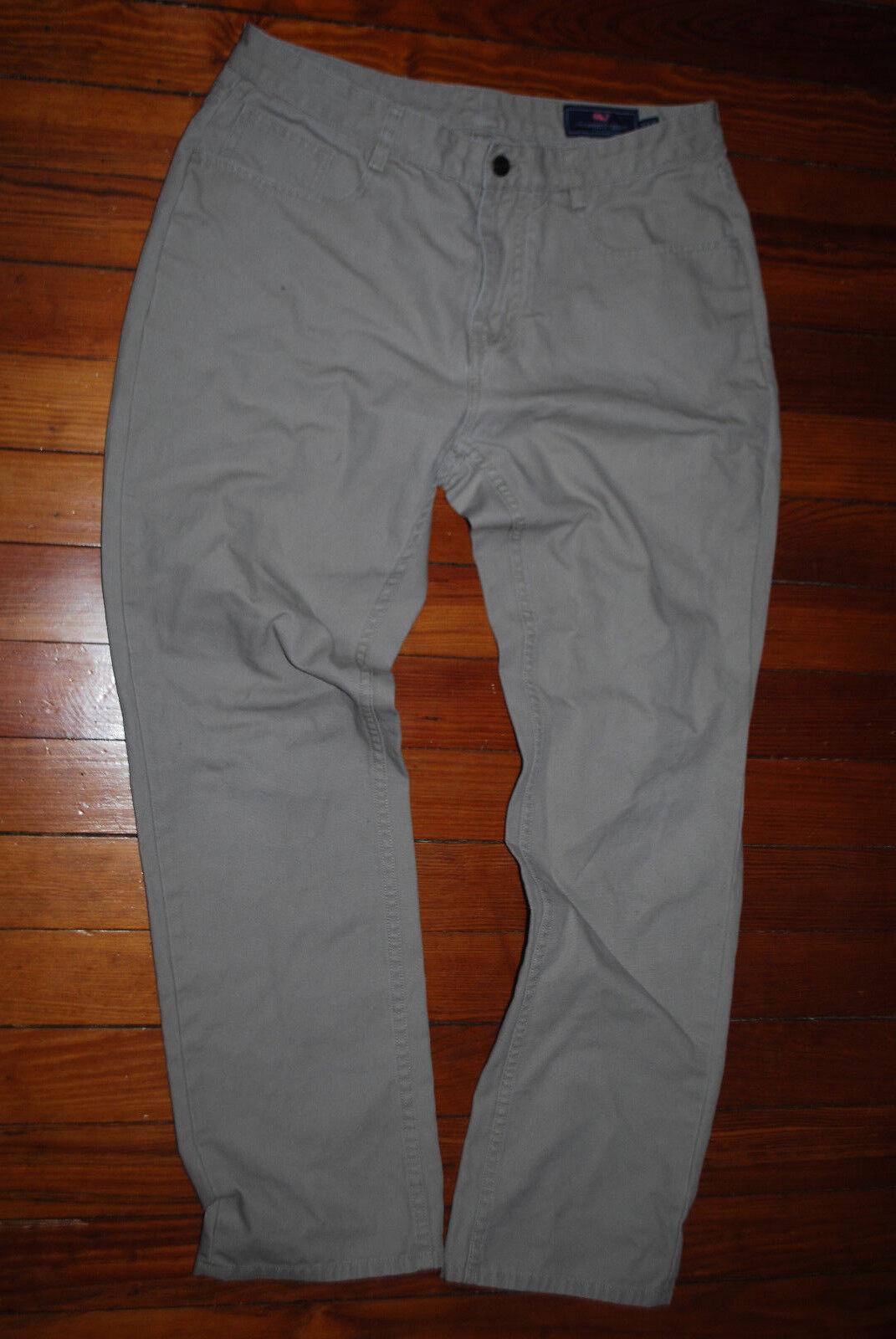 Men's Vineyard Vines Classic Straight Leg Beige Khaki Pants (34 x 32)
