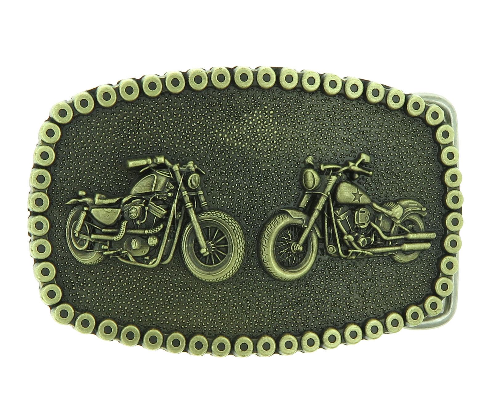 Motorcycle Chain Bikes Biker Bronze Plated Belt Buckle