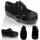 NEW WOMENS LADIES FLAT CHUNKY PLATFORM LACE UP GOTH PUNK CREEPERS SHOES SIZE