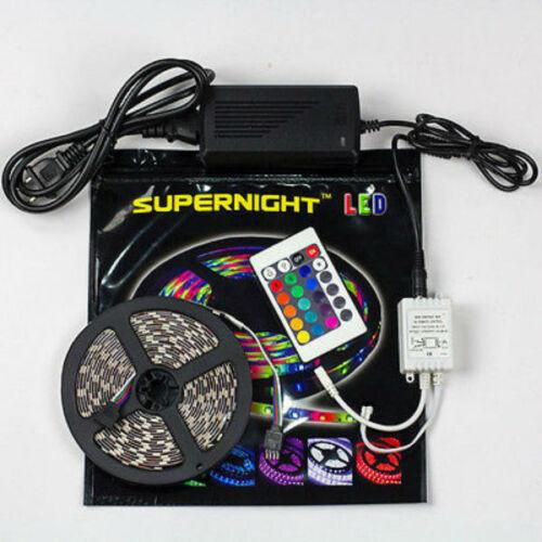 SUPERNIGHT® 5M 300Leds 3528//5050 SMD RGB LED Strip Light /& IR Remote /& 12V Power