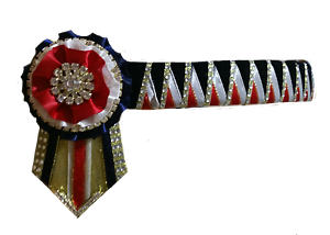 Browband Sharktooth red white navy & gold by Starlight Browbands