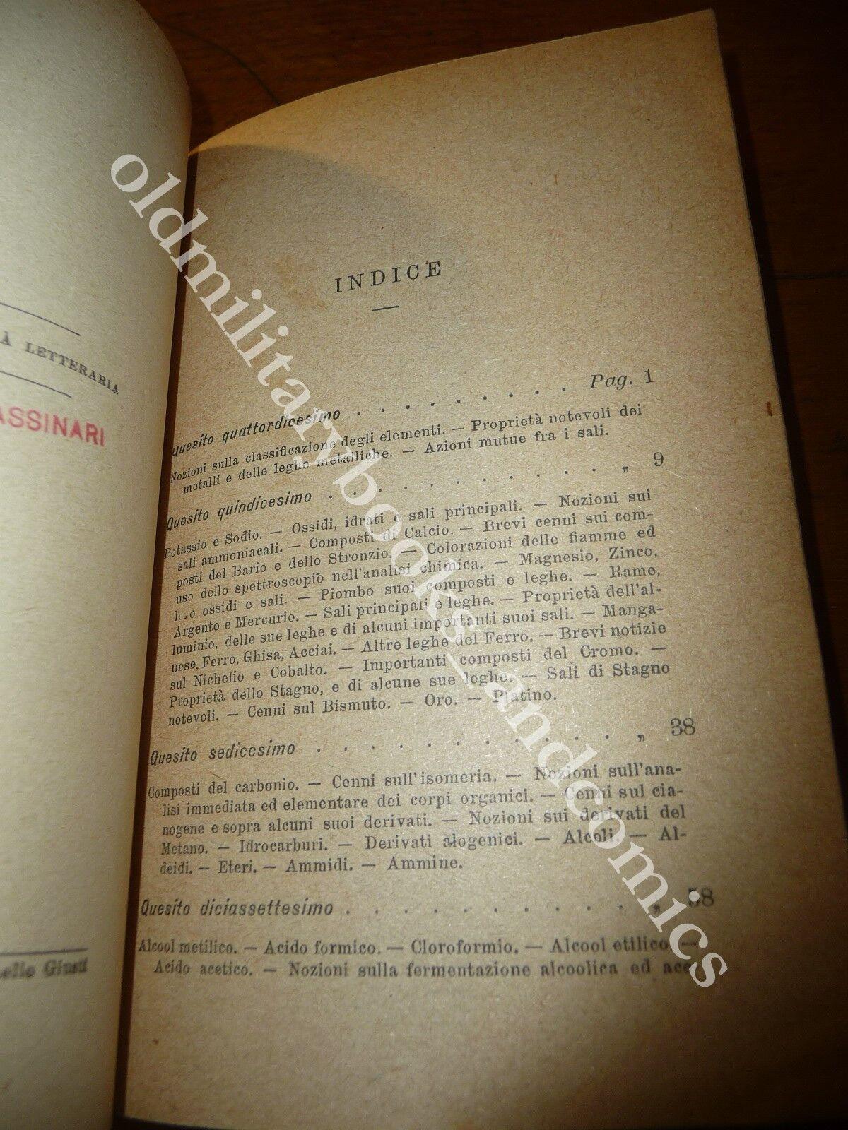 RIPETITORIO DI CHIMICA GABRIELE TASSINARI VOL. I E II 1920 BIBLIOTECA STUDENTI