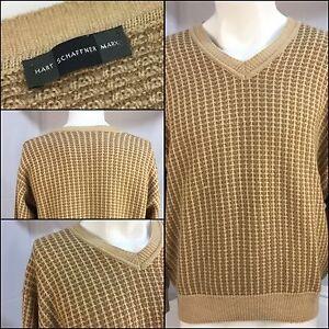 Hart-Schaffner-Marx-Sweater-Medium-100-Camel-V-Neck-Made-In-Italy-YGI-2366