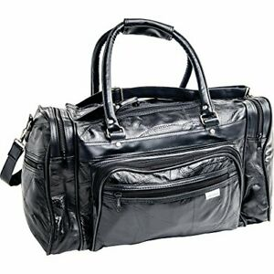 MAXAM 18 LEATHER TOTE BARREL BAG BLACK FUNCTIONAL ROOMY CONVENIENTLY POCKETS