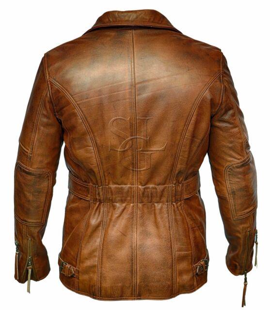 Mens Genuine Cow Leather Jacket Slim Fit Motorcycle Jacket LFC028 XXL