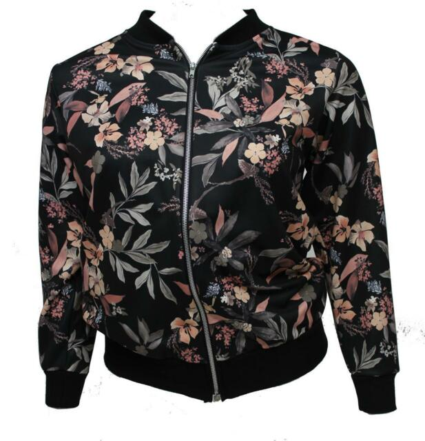 b37bbca0c Womens Floral Design Zip Front Full Sleeved Silky Plus Size Bomber Jacket  Size 14 Black