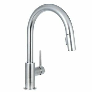 DELTA FAUCET Delta 9159 AR DST Single Handle Pull Down Kitchen Faucet,  Arctic Stainless