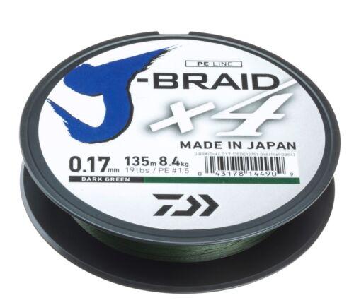 Daiwa J-Braid X4 135 u grün Original Spule 270 Meter versch Stärken gelb u